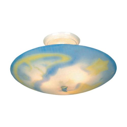 ELK Lighting 200-MN Kidshine 3-Light Semi Flush in White with Moonshine Motif