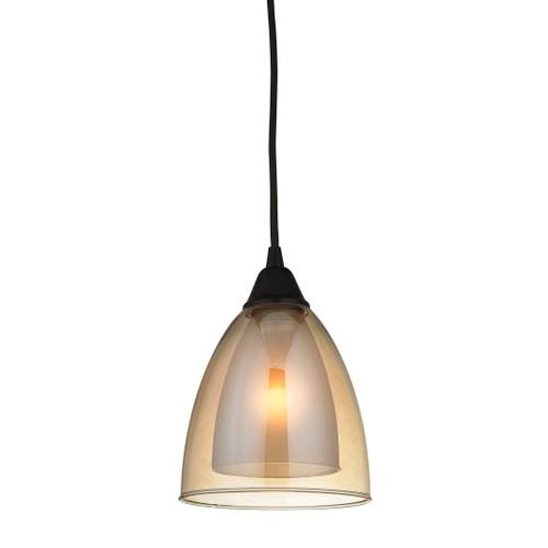 ELK Lighting 10474/1 Layers 1-Light Mini Pendant in Oil Rubbed Bronze with Amber Teak Glass