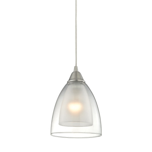 ELK Lighting 10464/1 Layers 1-Light Mini Pendant in Satin Nickel with Clear Glass