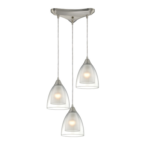 ELK Lighting 10464/3 Layers 3-Light Triangular Pendant Fixture in Satin Nickel with Clear Glass