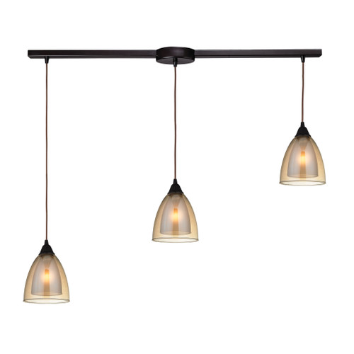 ELK Lighting 10474/3L Layers 3-Light Linear Pendant Fixture in Oil Rubbed Bronze with Amber Teak Glass
