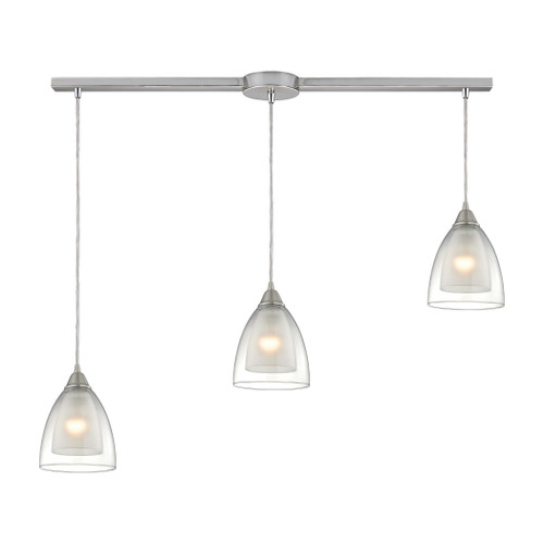 ELK Lighting 10464/3L Layers 3-Light Linear Pendant Fixture in Satin Nickel with Clear Glass