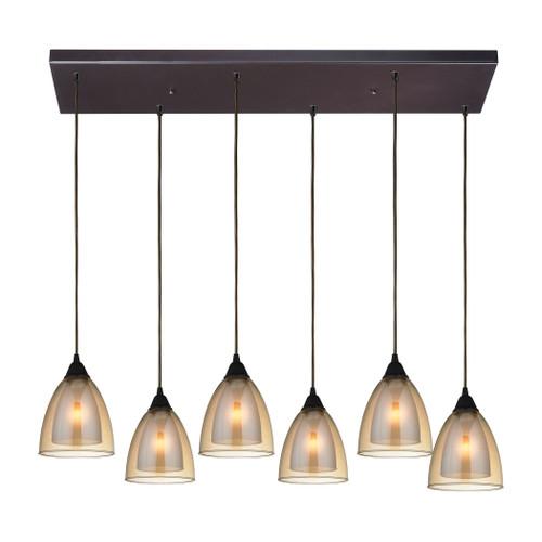 ELK Lighting 10474/6RC Layers 6-Light Rectangular Pendant Fixture in Oil Rubbed Bronze with Amber Teak Glass
