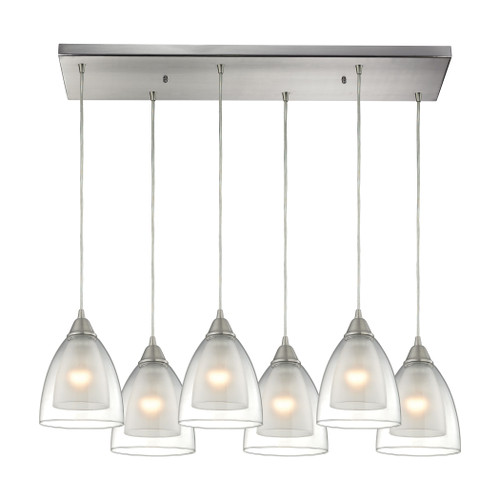 ELK Lighting 10464/6RC Layers 6-Light Rectangular Pendant Fixture in Satin Nickel with Clear Glass