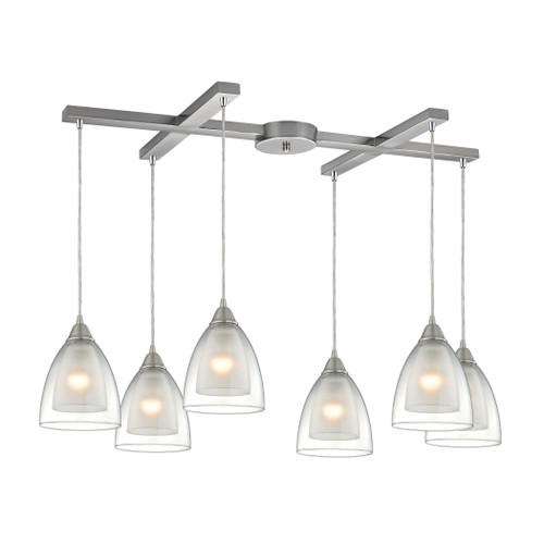 ELK Lighting 10464/6 Layers 6-Light H-Bar Pendant Fixture in Satin Nickel with Clear Glass