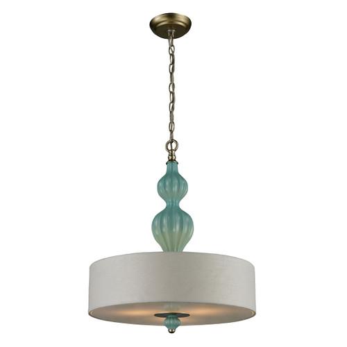 ELK Lighting 31362/3 Lilliana 3-Light Pendant in Aged Silver with Seafoam Ceramic