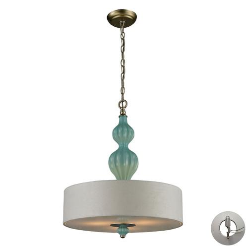 ELK Lighting 31362/3-LA Lilliana 3-Light Pendant in Aged Silver with Seafoam Ceramic - Includes Adapter Kit
