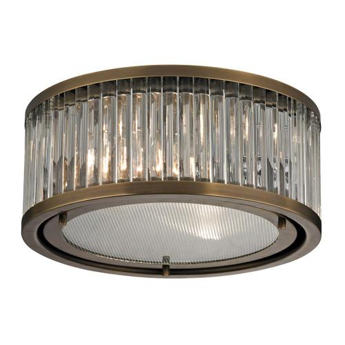 ELK Lighting 46122/2 Linden Manor 2-Light Flush Mount in Aged Brass with Diffuser