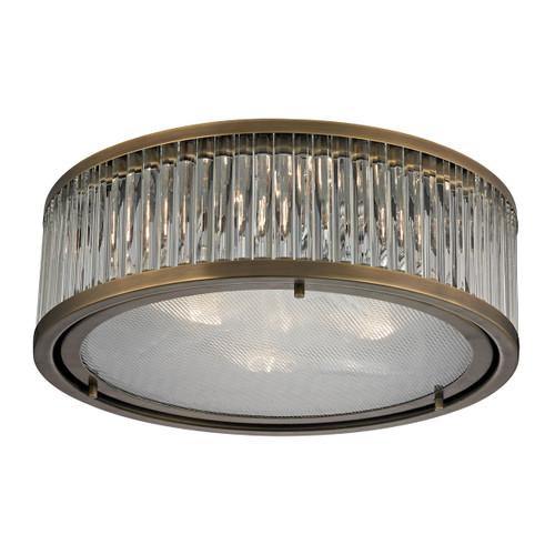 ELK Lighting 46123/3 Linden Manor 3-Light Flush Mount in Aged Brass with Diffuser
