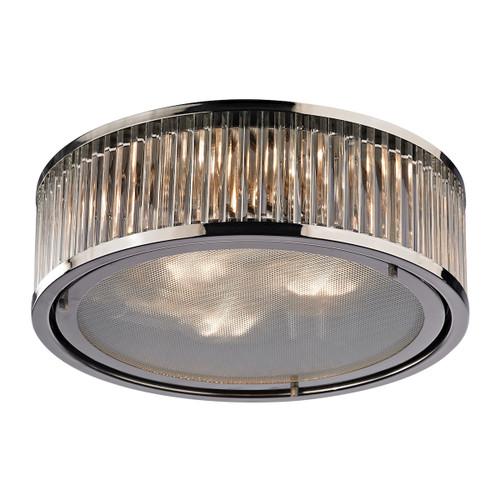 ELK Lighting 46103/3 Linden Manor 3-Light Flush Mount in Polished Nickel with Diffuser