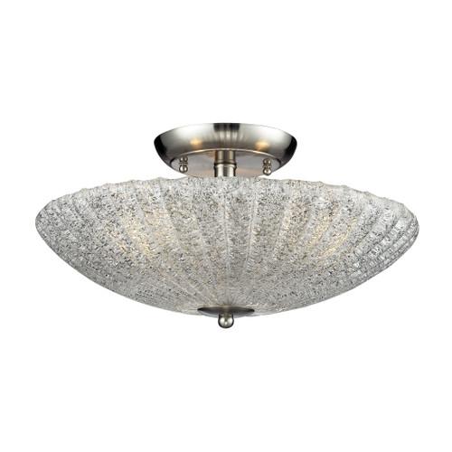 ELK Lighting 10271/3 Luminese 3-Light Semi Flush in Satin Nickel with Textured Clear Glass