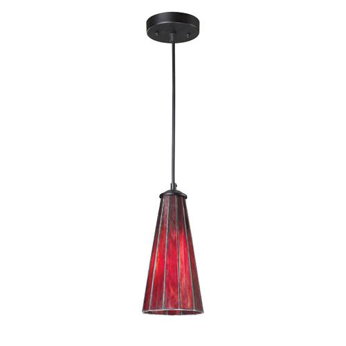 ELK Lighting 70000-1IR Lumino 1-Light Mini Pendant in Matte Black with Inferno Red Shade
