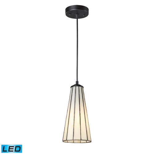 ELK Lighting 70000-1CW-LED Lumino 1-Light Mini Pendant in Matte Black with Comet White Shade - Includes LED Bulb