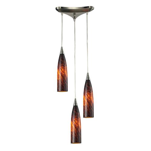 ELK Lighting 501-3ES Lungo 3-Light Triangular Pendant Fixture in Satin Nickel with Espresso Glass