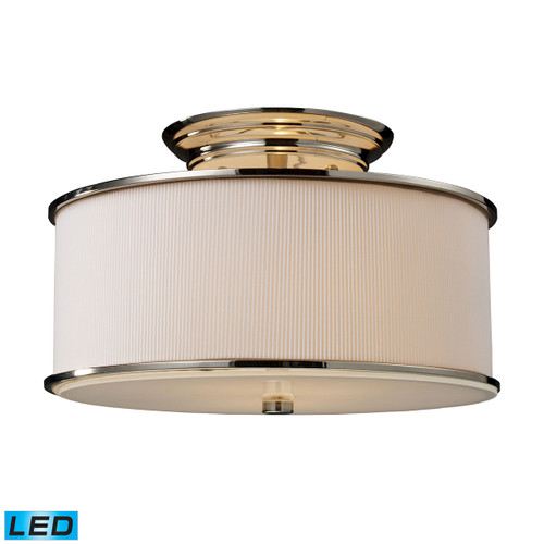 ELK Lighting 20061/2-LED Lureau 2-Light Semi Flush in Polished Nickel with Off-white Glass - Includes LED Bulbs