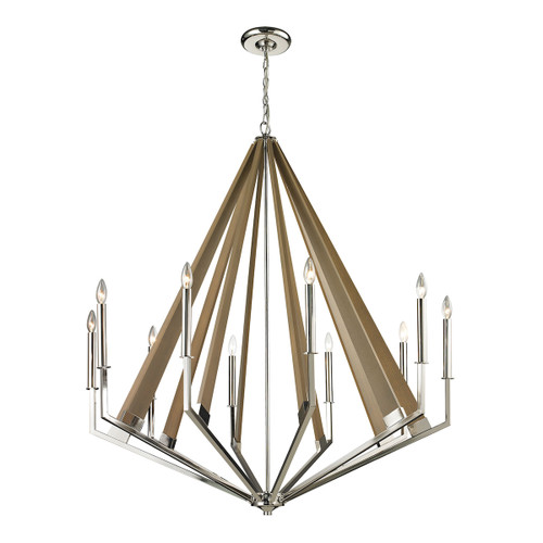 ELK Lighting 31476/10 Madera 10-Light Chandelier in Polished Nickel and Taupe