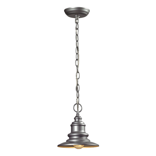 ELK Lighting 47021/1 Marina 1-Light Outdoor Pendant in Matte Silver