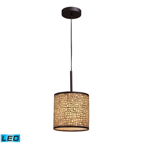 ELK Lighting 31045/1-LED Medina 1-Light Mini Pendant in Aged Bronze with Amber Glass - Includes LED Bulb