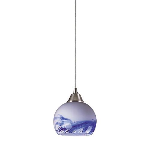 ELK Lighting 101-1MT Mela 1-Light Mini Pendant in Satin Nickel with Hand-blown Mountain Glass