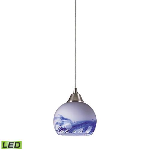 ELK Lighting 101-1MT-LED Mela 1-Light Mini Pendant in Satin Nickel with Hand-blown Mountain Glass - Includes LED Bulb