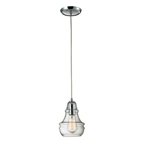 ELK Lighting 60057-1 Menlow Park 1-Light Mini Pendant in Polished Chrome with Smoked Glass