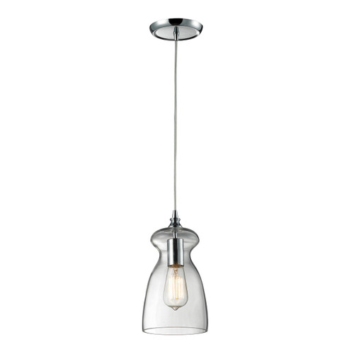 ELK Lighting 60053-1 Menlow Park 1-Light Mini Pendant in Polished Chrome with Smoked Glass