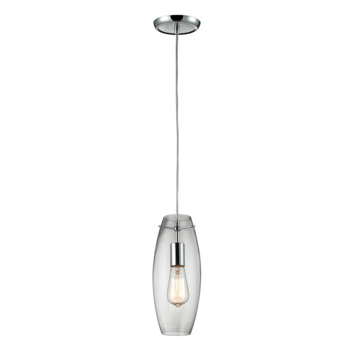 ELK Lighting 60054-1 Menlow Park 1-Light Mini Pendant in Polished Chrome with Smoked Glass