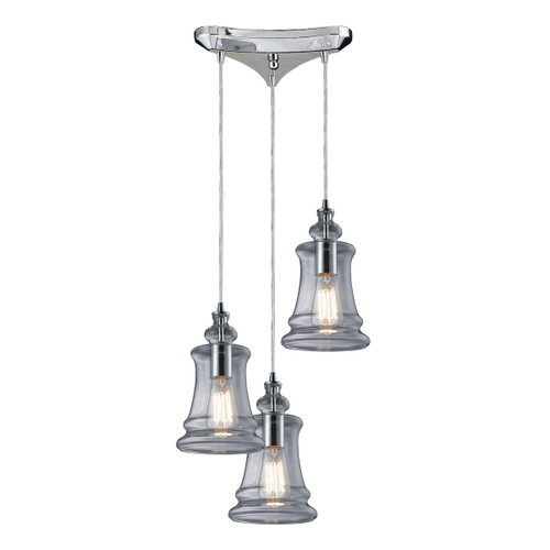 ELK Lighting 60052-3 Menlow Park 3-Light Triangular Pendant Fixture in Polished Chrome with Smoked Glass