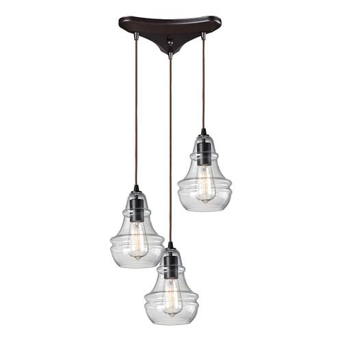 ELK Lighting 60047-3 Menlow Park 3-Light Triangular Pendant Fixture in Oiled Bronze with Smoked Glass