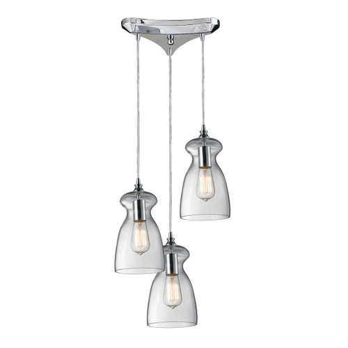 ELK Lighting 60053-3 Menlow Park 3-Light Triangular Pendant Fixture in Polished Chrome with Smoked Glass