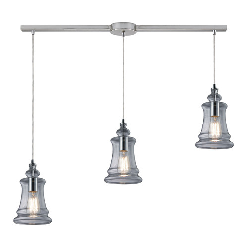 ELK Lighting 60052-3L Menlow Park 3-Light Linear Pendant Fixture in Polished Chrome with Smoked Glass