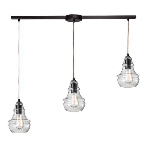ELK Lighting 60047-3L Menlow Park 3-Light Linear Pendant Fixture in Oiled Bronze with Smoked Glass