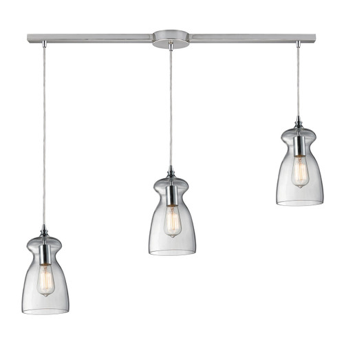ELK Lighting 60053-3L Menlow Park 3-Light Linear Pendant Fixture in Polished Chrome with Smoked Glass