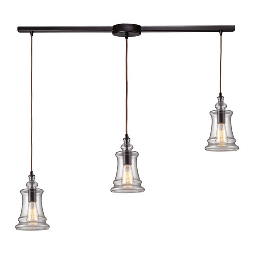 ELK Lighting 60042-3L Menlow Park 3-Light Linear Pendant Fixture in Oiled Bronze with Smoked Glass
