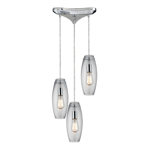 ELK Lighting 60054-3 Menlow Park 3-Light Triangular Pendant Fixture in Polished Chrome with Smoked Glass