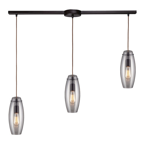 ELK Lighting 60044-3L Menlow Park 3-Light Linear Pendant Fixture in Oiled Bronze with Smoked Glass