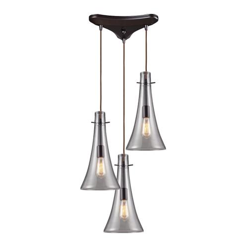 ELK Lighting 60045-3 Menlow Park 3-Light Triangular Pendant Fixture in Oiled Bronze with Smoked Glass