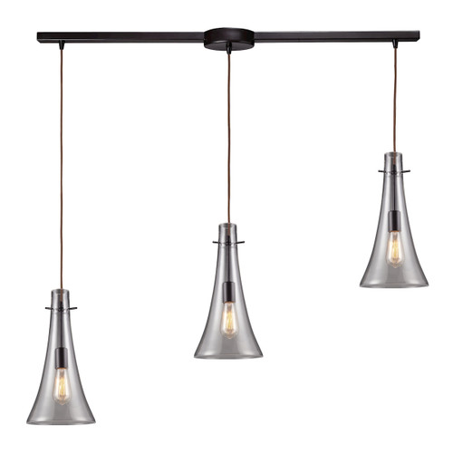 ELK Lighting 60045-3L Menlow Park 3-Light Linear Pendant Fixture in Oiled Bronze with Smoked Glass