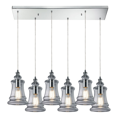 ELK Lighting 60052-6RC Menlow Park 6-Light Rectangular Pendant Fixture in Polished Chrome with Smoked Glass