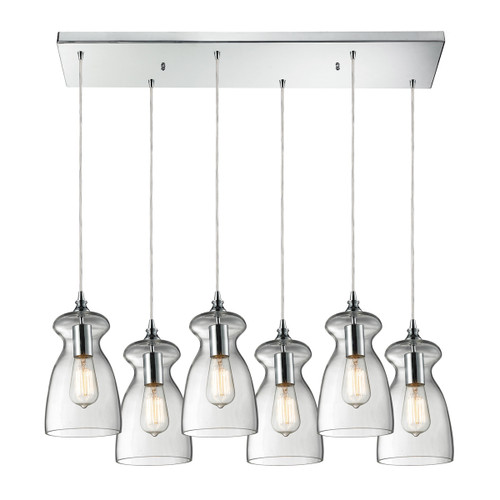 ELK Lighting 60053-6RC Menlow Park 6-Light Rectangular Pendant Fixture in Polished Chrome with Smoked Glass