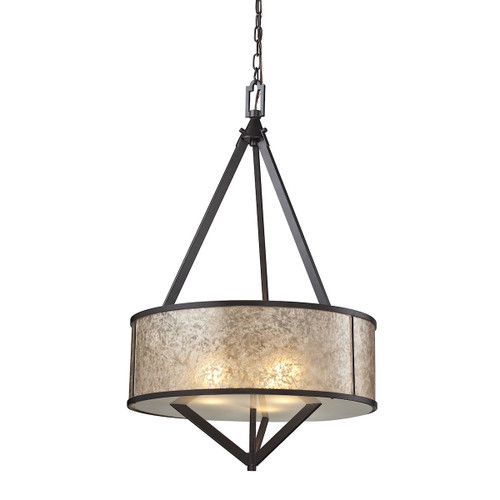 ELK Lighting 66951/3 Mica 3-Light Chandelier in Oil Rubbed Bronze with Mica Shade