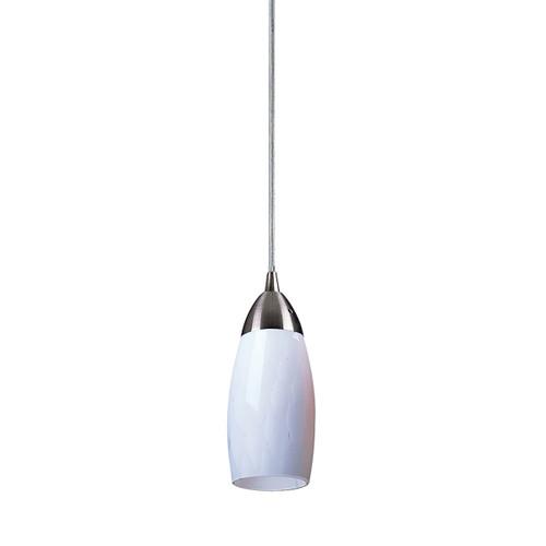 ELK Lighting 110-1WH Milan 1-Light Mini Pendant in Satin Nickel with Simple White Glass
