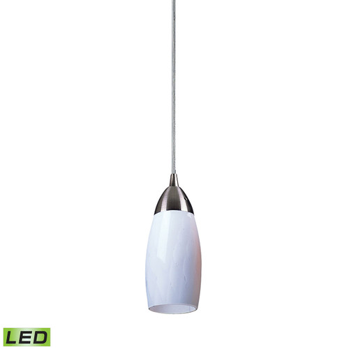 ELK Lighting 110-1WH-LED Milan 1-Light Mini Pendant in Satin Nickel with Simple White Glass - Includes LED Bulb