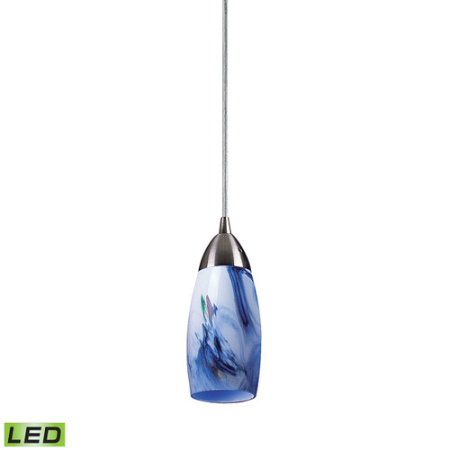 ELK Lighting 110-1MT-LED Milan 1-Light Mini Pendant in Satin Nickel with Mountain Glass - Includes LED Bulb