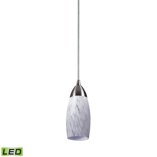 ELK Lighting 110-1SW-LED Milan 1-Light Mini Pendant in Satin Nickel with Snow White Glass - Includes LED Bulb