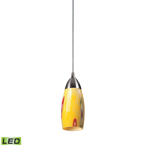 ELK Lighting 110-1YW-LED Milan 1-Light Mini Pendant in Satin Nickel with Yellow Blaze Glass - Includes LED Bulb