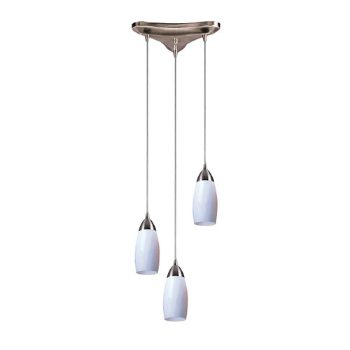 ELK Lighting 110-3WH Milan 3-Light Triangular Pendant Fixture in Satin Nickel with Simple White Glass