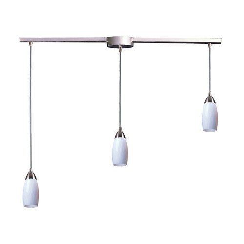ELK Lighting 110-3L-WH Milan 3-Light Linear Pendant Fixture in Satin Nickel with Simple White Glass