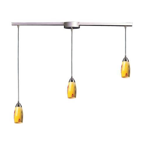 ELK Lighting 110-3L-YW Milan 3-Light Linear Pendant Fixture in Satin Nickel with Yellow Blaze Glass