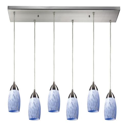 ELK Lighting 110-6RC-SW Milan 6-Light Rectangular Pendant Fixture in Satin Nickel with Snow White Glass